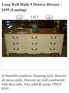 Craig's List Ad for Dresser