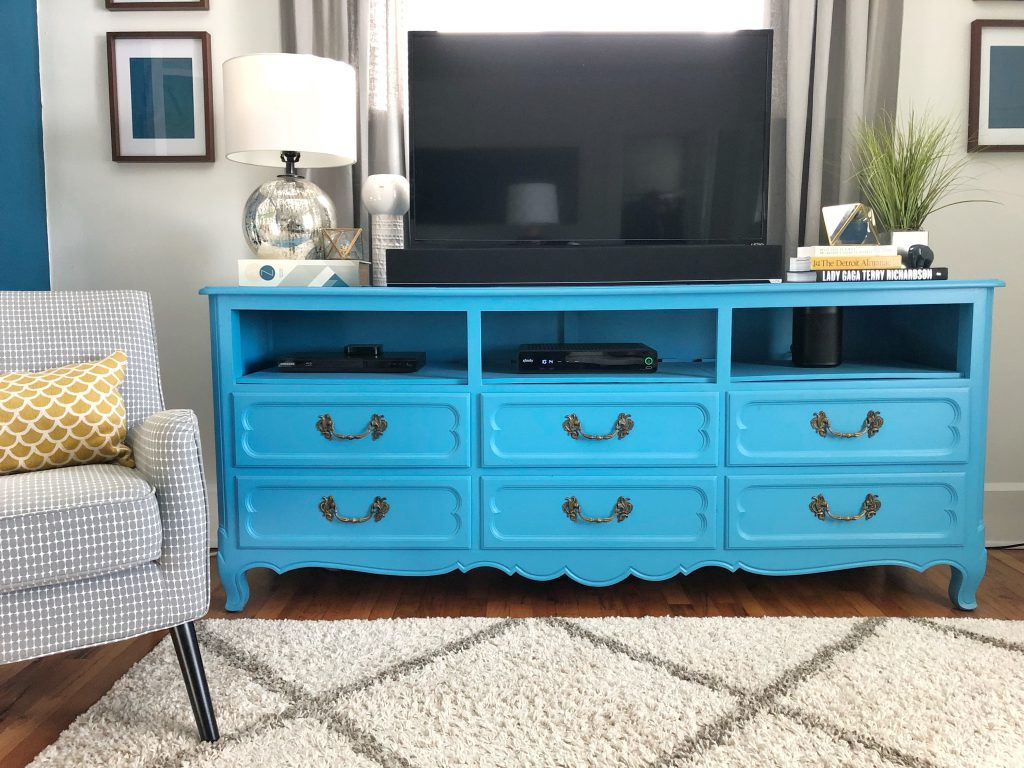 Finished TV Stand made from an old dresser