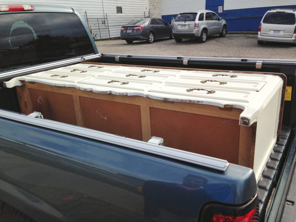 Transporting the dresser home to start the transformation