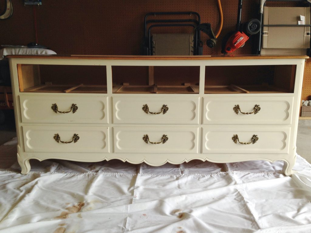 The dresser without the top drawers