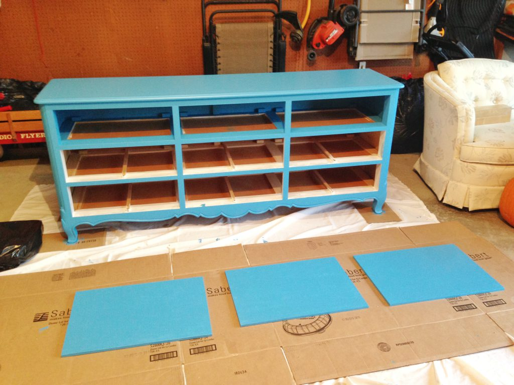 Painting the dresser and shelf